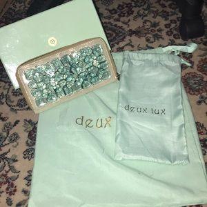 Deux lux zip wallet beautiful looking teal crystal